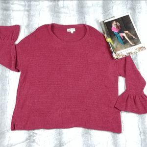 Knox Rose Large Burgandy Bell Sleeve Sweater